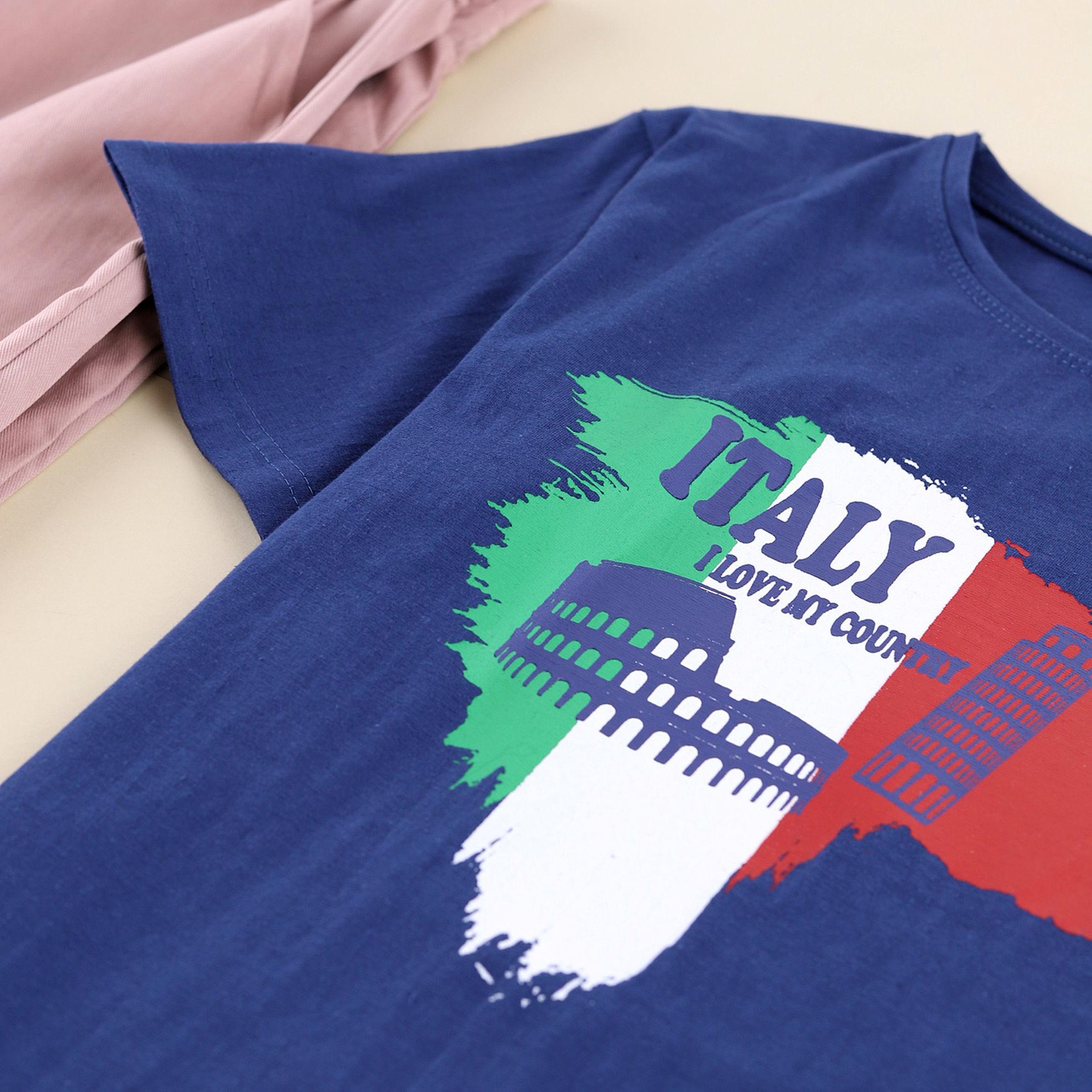 تصویر از ست تیشرت و شلوار اسلش طرح ایتالی