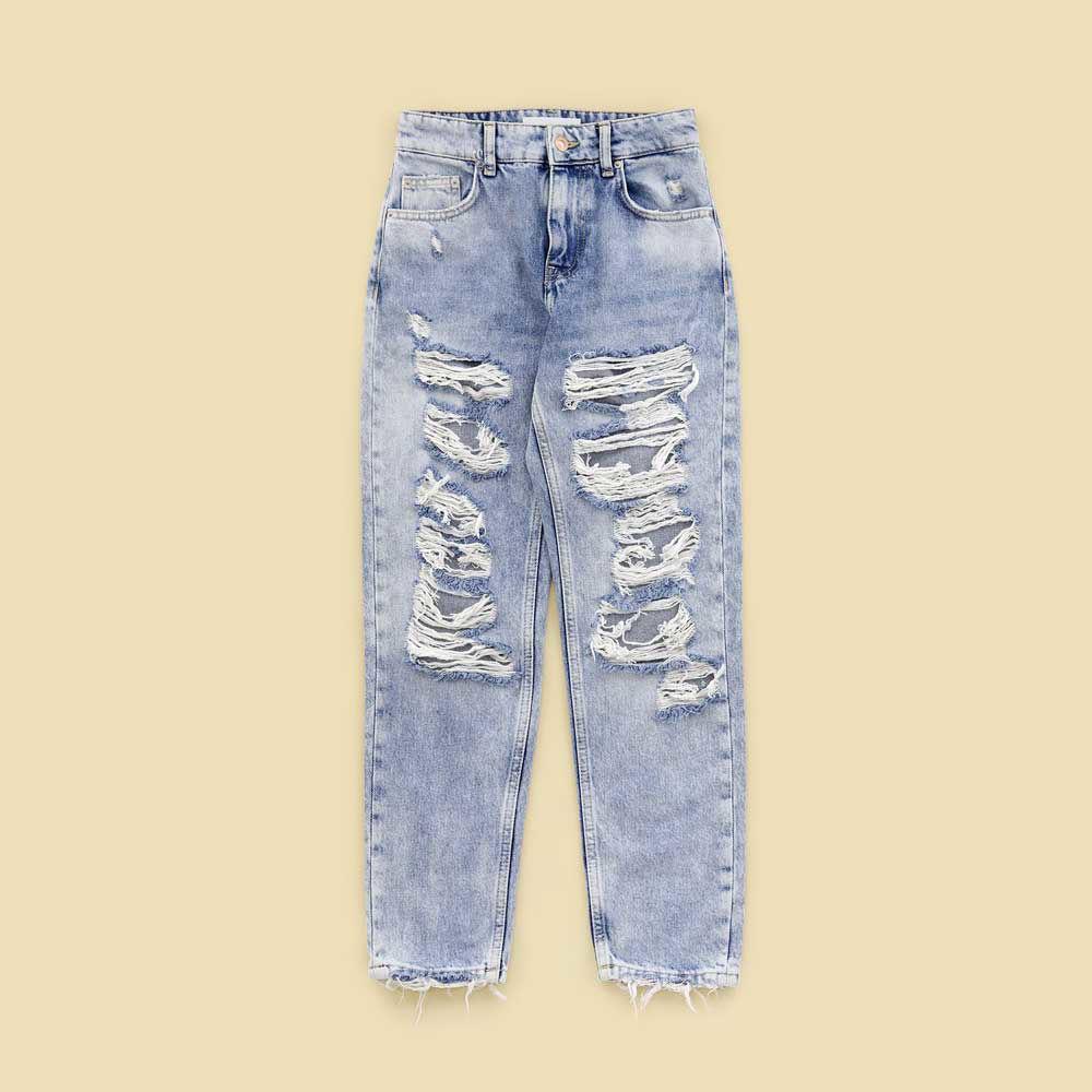 تصویر از شلوار جین زاپ دار روشن